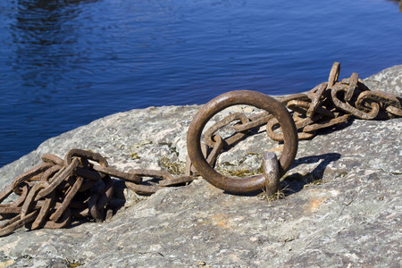 mooring: rusty metal mooring ring