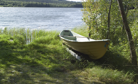 moored: Small boat moored, Finland