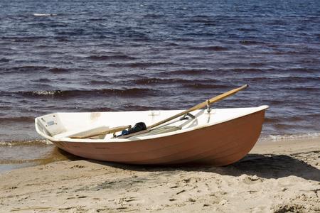 stranded: stranded row-boat Stock Photo