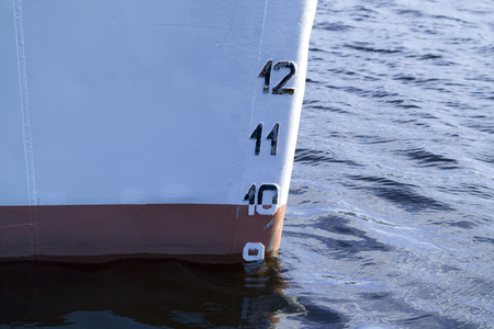 plimsoll: ships bow showing the plimsoll depth gauge