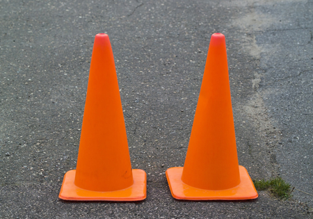 traffic   cones: traffic cones on tarmac Stock Photo