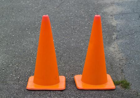 traffic cones on tarmac Stock Photo