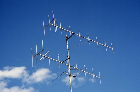 high frequency: VHF antennas against blue sky