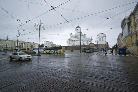 helsinki: wet cityscape, Helsinki Finland Editorial