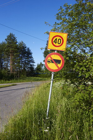 no entry: No entry for lorries and vans, traffic sign Finland