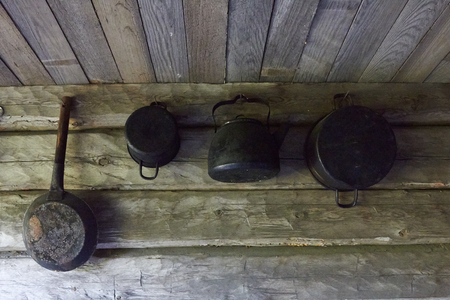 camping site: camping site shelter with black cooking set, Finland