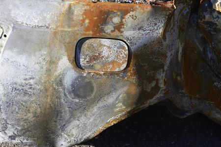 la quemada: Detalle del coche quemado