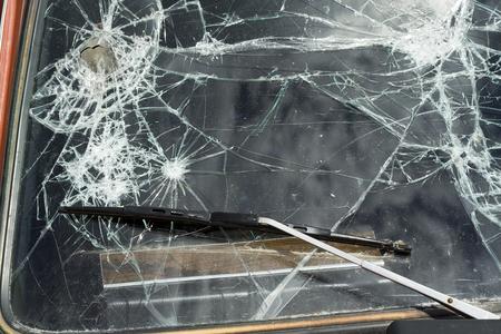 windshield: cracked windshield Stock Photo