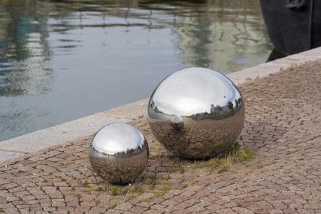 steel balls: two shiny steel balls, Helsinki Finland