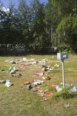 vandalize: littered camping area