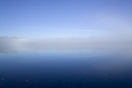 finland: foggy lake Finland Stock Photo