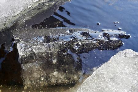 melting ice: melting ice on lake, Finland Stock Photo