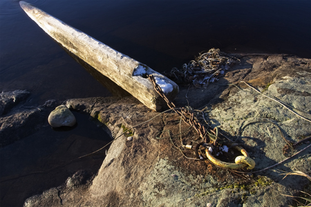 old wooden log attached to mooring ring