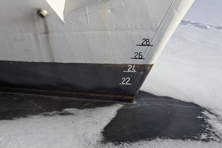 ships bow showing the plimsoll depth gauge