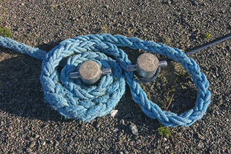 blue rope at harbour Stock Photo