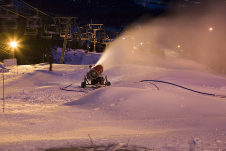 snowmaking device in action, Vuokatti Finland