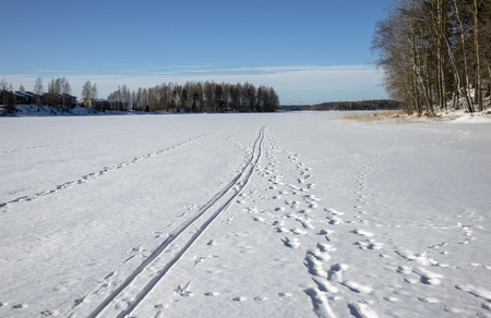 tracks on snow in early spring, Lappeenranta Finland Stock Photo