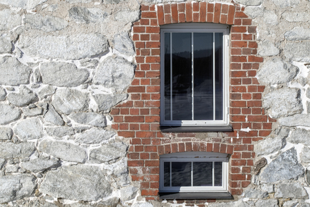 windows in old wall