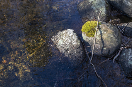 rocks in stream, Savitaipale Finland Stock Photo - 121291664