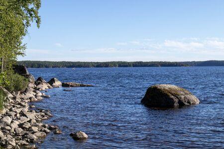 Lake scenery in Malonsaari, Imatra Finland Imagens - 131800870