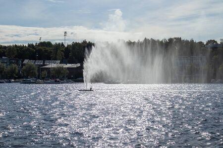 fountain in Lappeenranta harbour, Finland