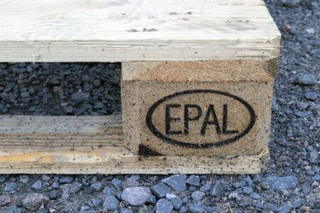 Oval EPAL symbol on wooden pallet Imagens - 131843719