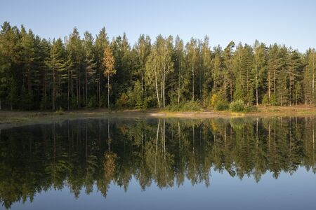 calm late summer lake scenery, Finland Stock fotó