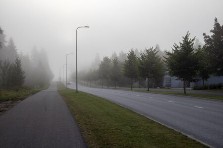 foggy street scene, Lappeenranta Finland Imagens - 131843724