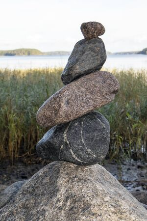 balanced pile of stones outdoors