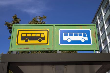 bus stop for local traffic and long distance traffic signs, Finland Stock Photo