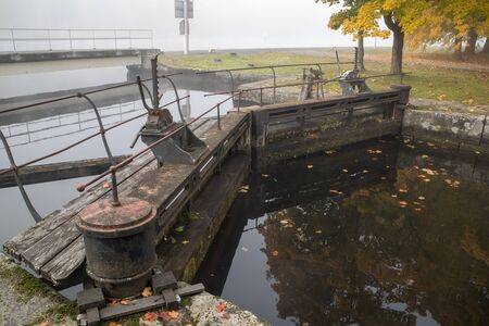 foggy morning at the historic Saimaa canal in Mustola, Lappeenranta Finland