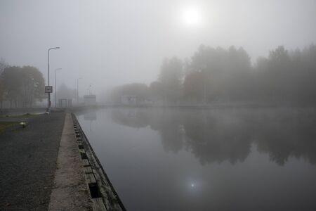 foggy morning at the Saimaa canal in Mustola, Lappeenranta Finland