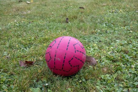 red plastic soccer ball on lawn Imagens - 133229931