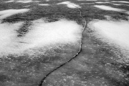 crack in ice, lake ice pattern