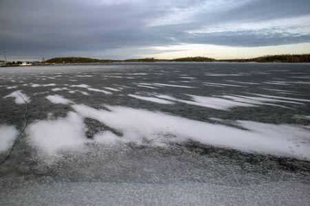 snow on lake ice, Lappeenranta Finland Imagens
