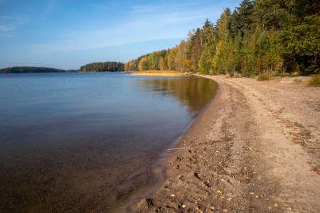 empty beach in autumn, Lappeenranta Finland Imagens