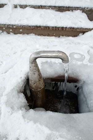 groundwater flowing from outdoor water tap, Lappeenranta Finland