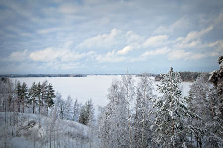 snowy scenery in Huhtiniemi Lappeenranta, Finland Imagens