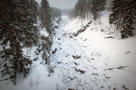 dry Imatrankoski riverbed in winter, Imatra Finland Imagens
