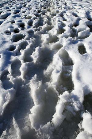 footprints on wet lake ice in springtime