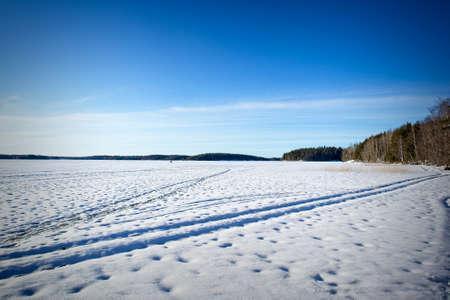 sunny Lake Saimaa early spring sceneryin Lappeenranta Finland