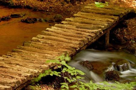 attainable: wooden bridge, river, walking path