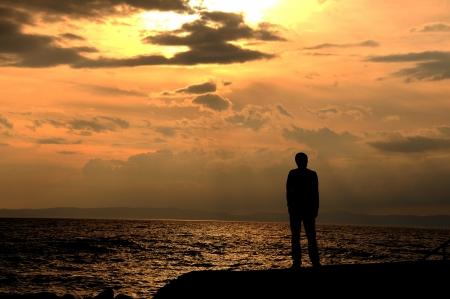 stand allein am Strand junge, Depression, Urlaub, Lizenzfreie Bilder