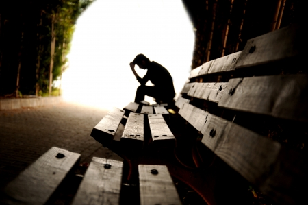 depression, teen depression, pain, suffering, tunnel Stock Photo - 13789076