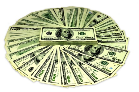 100 $, eine Menge von Dollar, mit wei�em Hintergrund