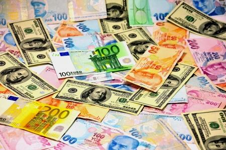 M�nzen verschiedener L�nder, gemischte W�hrungen, TL, Dollar, Euro, Lizenzfreie Bilder