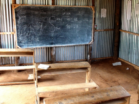 An African classroom in Somali migrant camp, Dadaab, Kenya Stock Photo