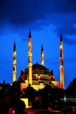 Selimiye Mosque night scene, Edirne Turkey