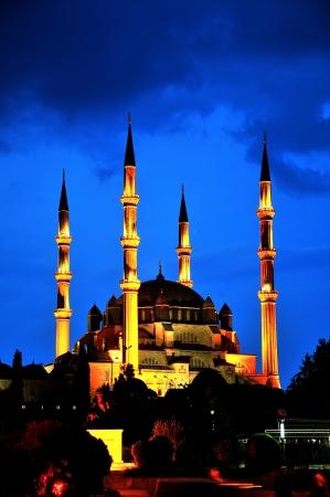 Selimiye Mosque night scene, Edirne Turkey