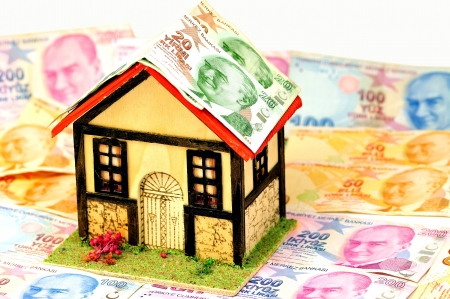 miniature house for turkish banknotes as a background photo